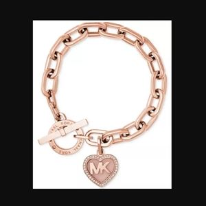 Michael Kors Rose Gold Heart Toggle Bracelet NWT